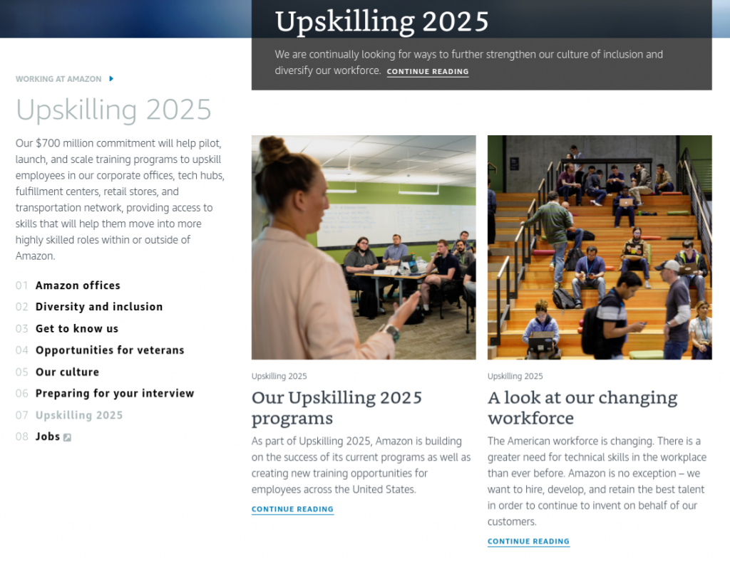 Amazon's Upskilling 2025 initiative to develop employees