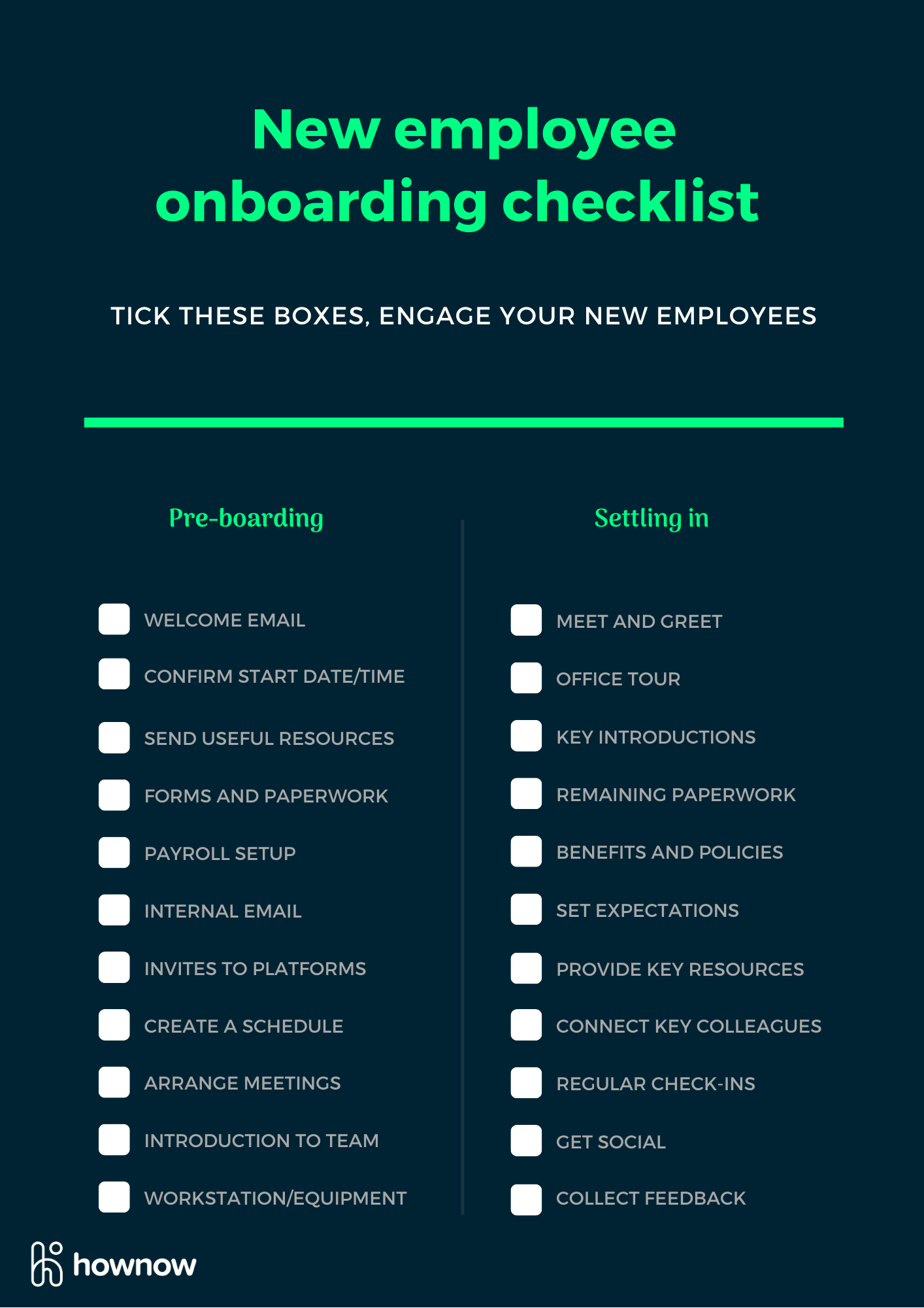An employee onboarding checklist that gets to the point