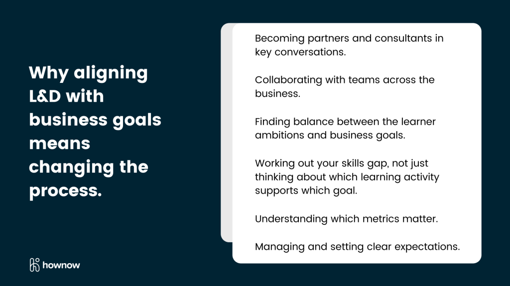 Why aligning L&D with business goals means changing the process.