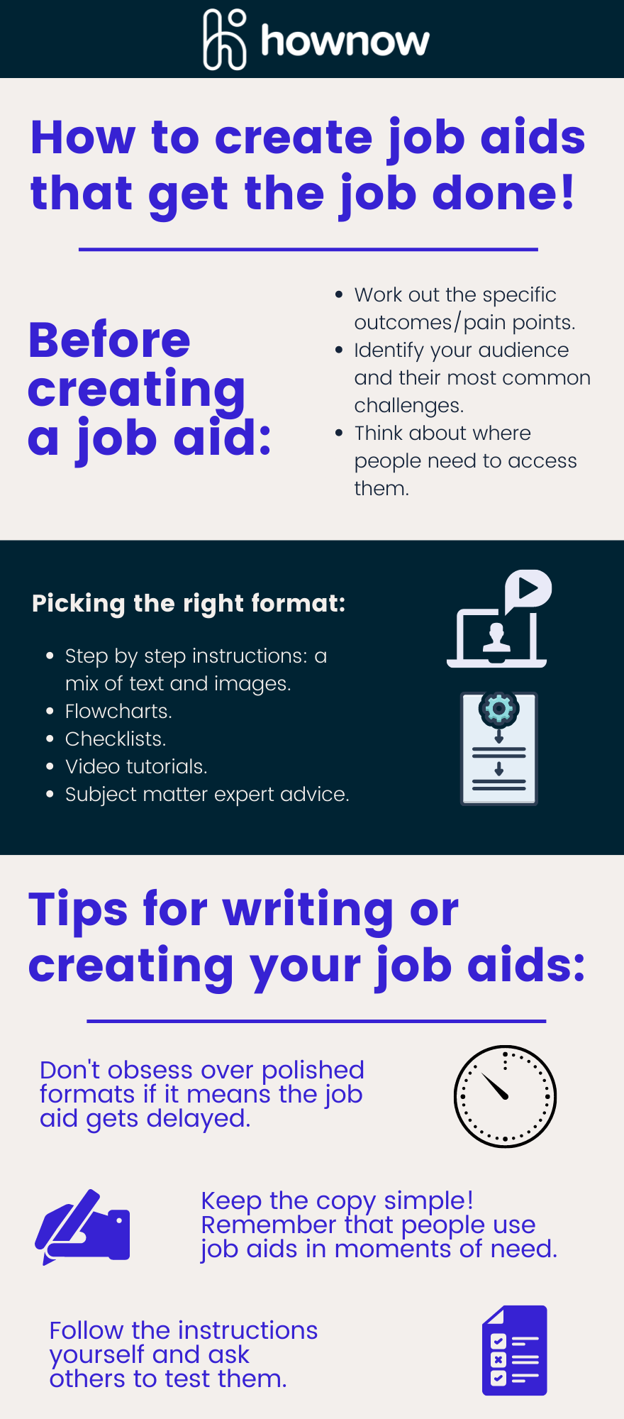 Infographic: Tips for creating job aids that effectively help people overcome their challenges.